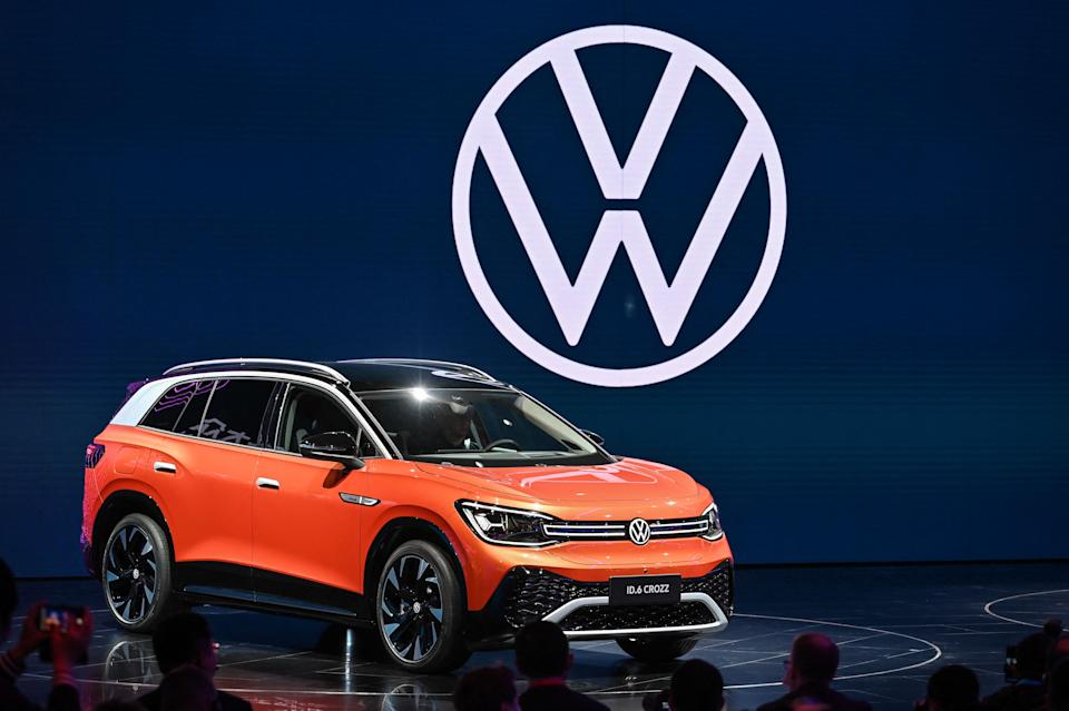 The new Volkswagen ID.6 Crozz car is seen during the 19th Shanghai International Automobile Industry Exhibition in Shanghai on April 19, 2021. (Photo by Hector RETAMAL / AFP) (Photo by HECTOR RETAMAL/AFP via Getty Images)