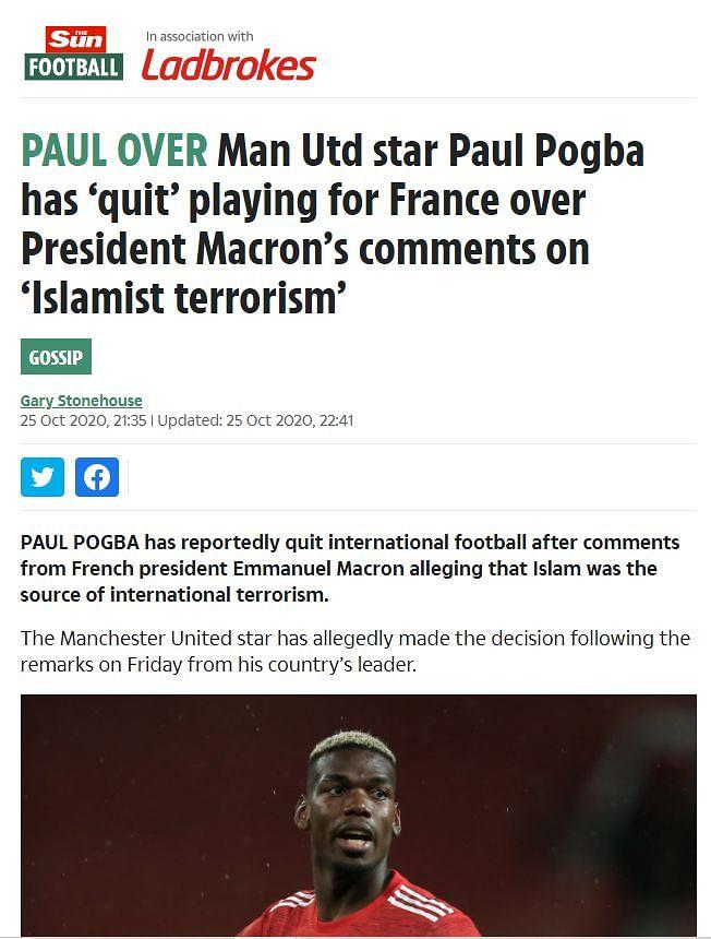 """An archive of the post can be found <a href=""""https://web.archive.org/web/20201025224931/https://www.thesun.co.uk/sport/13020178/man-utd-paul-pogba-quits-france/"""" rel=""""nofollow noopener"""" target=""""_blank"""" data-ylk=""""slk:here"""" class=""""link rapid-noclick-resp"""">here</a>."""