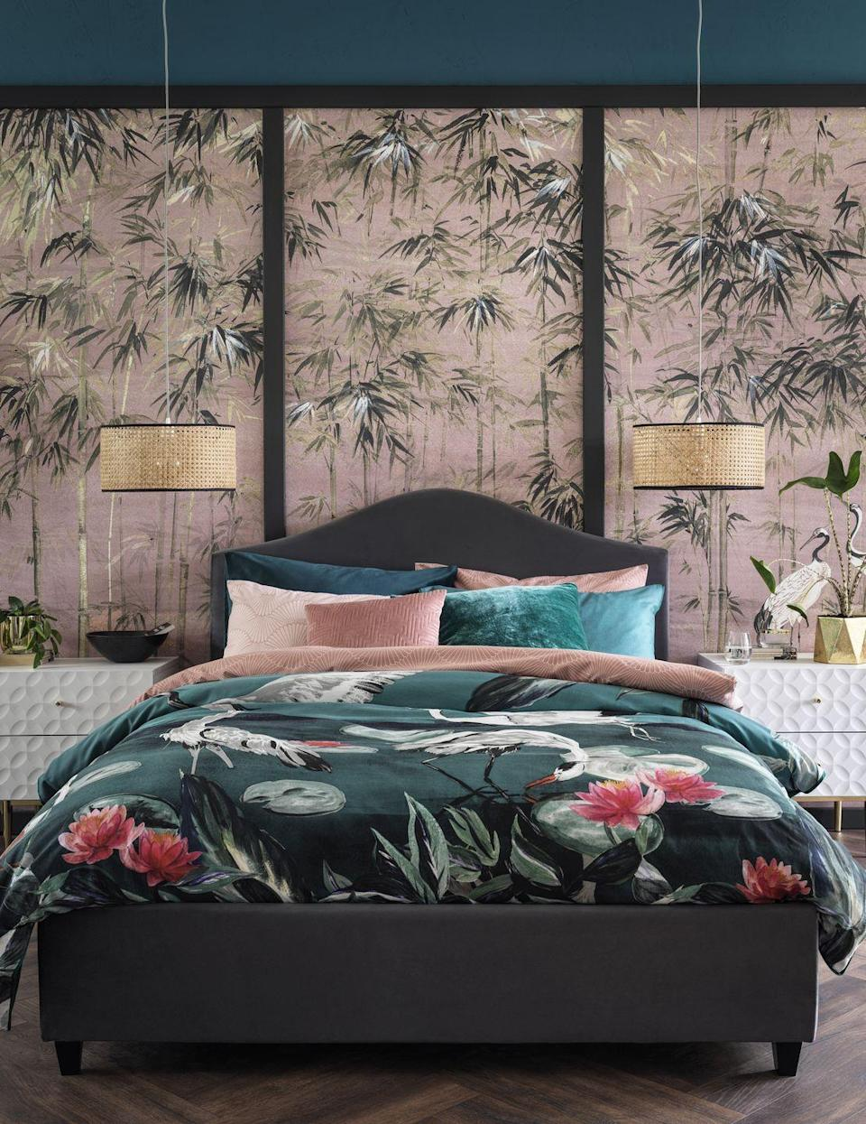 """<p>'Printed bedding is a bestseller at Habitat, appealing to those looking for an instant style update and ideal for <a href=""""https://www.housebeautiful.com/uk/decorate/a35093246/decorating-rented-home/"""" rel=""""nofollow noopener"""" target=""""_blank"""" data-ylk=""""slk:renters"""" class=""""link rapid-noclick-resp"""">renters</a> who are big on pattern but unable to wallpaper or paint,' adds Anna. </p><p>'Our latest design looked to high-end fashion houses for inspiration, to create a head-turning, romantic motif of elegant cranes and painterly water lilies.'</p>"""