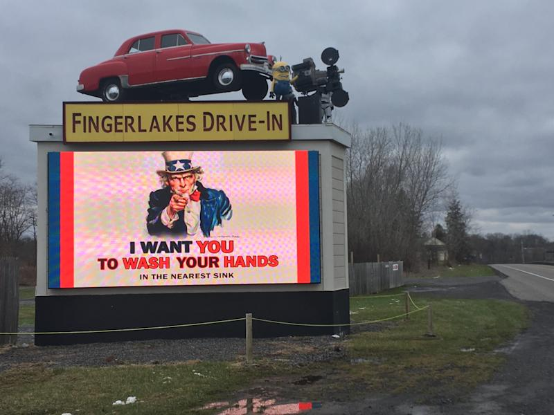 Fingerlakes Drive-In in Auburn, New York, promotes hand hygiene right at the entrance.