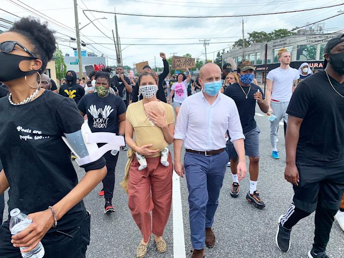 Then-Rep. Max Rose with his wife, Leigh, and son, Miles, at a Black Lives Matter protest on Staten Island in June. (@MaxRose4NY via Twitter)