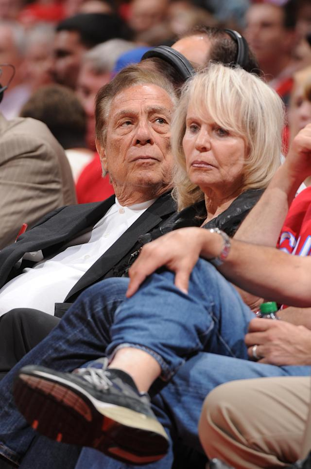 LOS ANGELES, CA - MAY 5: Owner Donald Sterling of the Los Angeles Clippers and his wife Shelly look on during a game against the Memphis Grizzlies in Game Three of the Western Conference Quarterfinals during the 2012 NBA Playoffs at Staples Center on May 5, 2012 in Los Angeles, California. (Photo by Andrew D. Bernstein/NBAE via Getty Images)