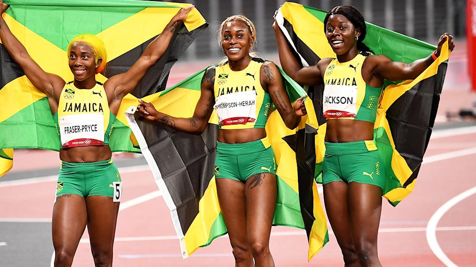 Shelly-Ann Fraser-Pryce, Elaine Thompson-Herah and Shericka Jackson, pictured here after the 100m final at the Olympics.