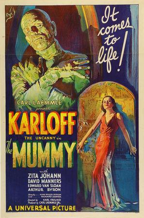 "An original 1932 lithographic film poster designed by Karoly Grosz, for the movie ""The Mummy\"