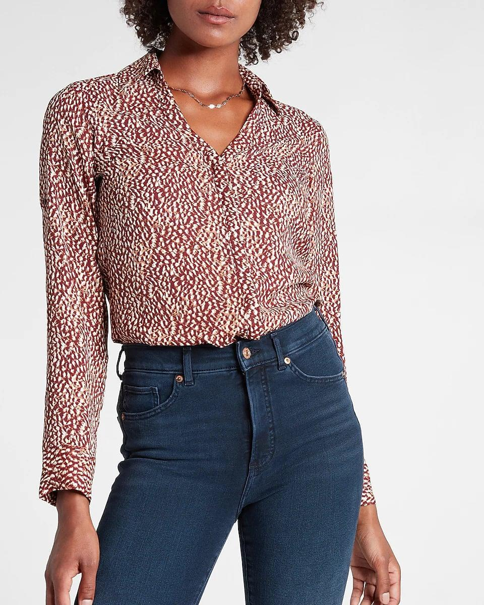 <p>Whether you're getting ready for an interview or starting your first day on the job, this <span>Express Printed Portofino Shirt</span> ($58) will convey an impression of preparedness and confidence. You'll wear it all the time afterward, too.</p>