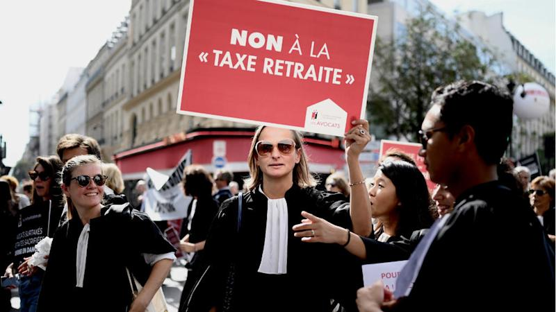 French doctors, lawyers, pilots protest pension reforms