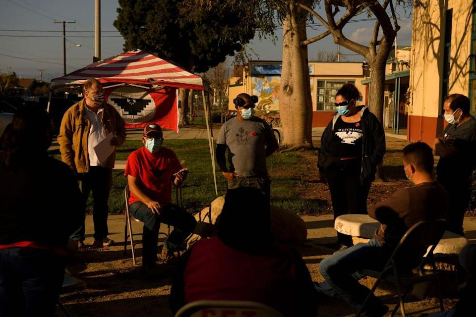 UFW members hold a community outreach meeting about Covid-19 vaccinations in Oxnard, California.