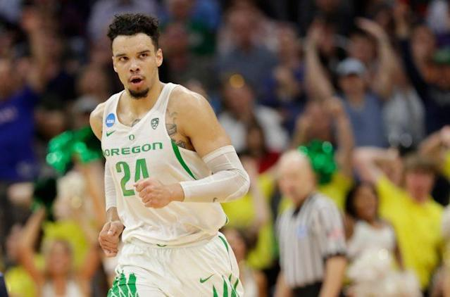 Dillon Brooks #24 of the Oregon Ducks reacts after a play against the Rhode Island Rams during the second round of the 2017 NCAA Men's Basketball Tournament at Golden 1 Center on March 19, 2017 in Sacramento, California. (Photo by Jamie Squire/Getty Images)