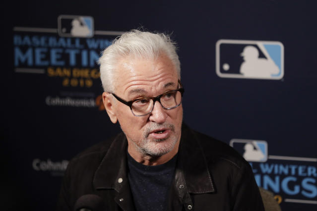 Los Angeles Angels manager Joe Maddon speaks during the Major League Baseball winter meetings Monday, Dec. 9, 2019, in San Diego. (AP Photo/Gregory Bull)