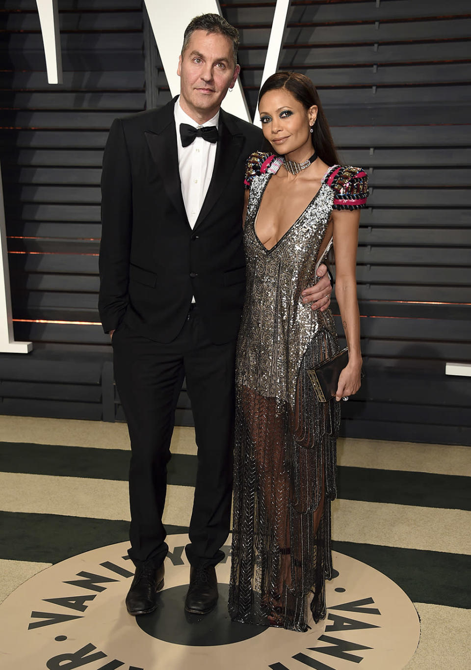 <p>Ol Parker, left, and Thandie Newton arrive at the Vanity Fair Oscar Party on Sunday, Feb. 26, 2017, in Beverly Hills, Calif. (Photo by Evan Agostini/Invision/AP) </p>