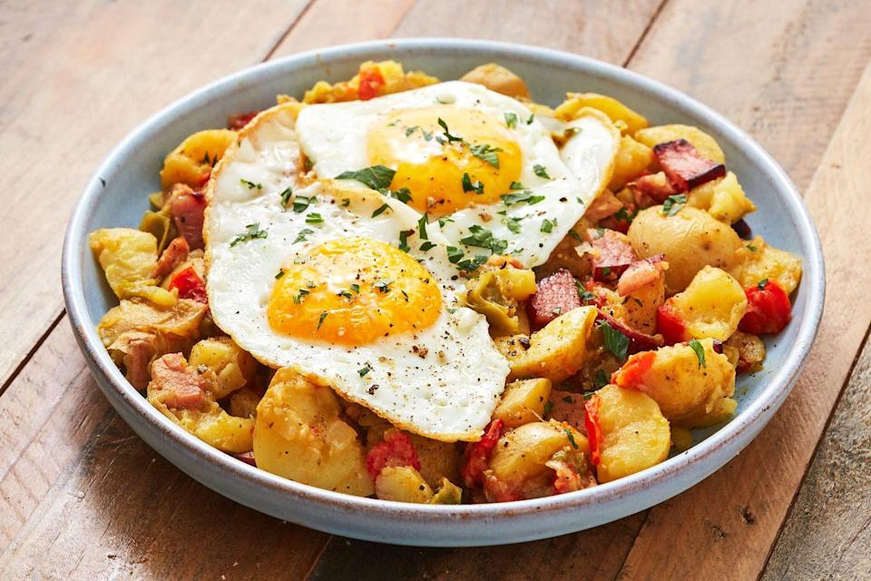 """<p>Potato hash is one of our favorite ways to sneak veggies into breakfast.</p><p>Get the recipe from <a href=""""https://www.delish.com/cooking/recipe-ideas/a27422695/instant-pot-hash-recipe/"""" rel=""""nofollow noopener"""" target=""""_blank"""" data-ylk=""""slk:Delish"""" class=""""link rapid-noclick-resp"""">Delish</a>.</p>"""