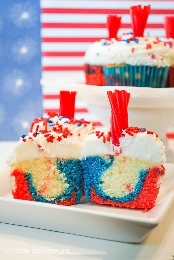 "<p>The red-and-blue swirl effect is surprisingly easy to achieve — plus, who knew that red licorice could make such a perfect candy firecracker fuse?</p><p><em><a href=""https://insidebrucrewlife.com/firecracker-cupcakes/"" rel=""nofollow noopener"" target=""_blank"" data-ylk=""slk:Get the recipe from Inside Bru Crew Life »"" class=""link rapid-noclick-resp"">Get the recipe from Inside Bru Crew Life »</a></em></p>"