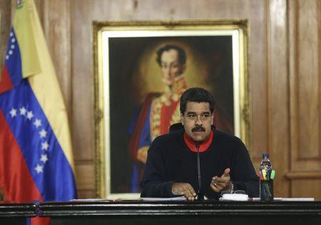 President Nicolas Maduro talks to newly elected deputies from United Socialist Party (PSUV), during a meeting at Miraflores Palace in Caracas