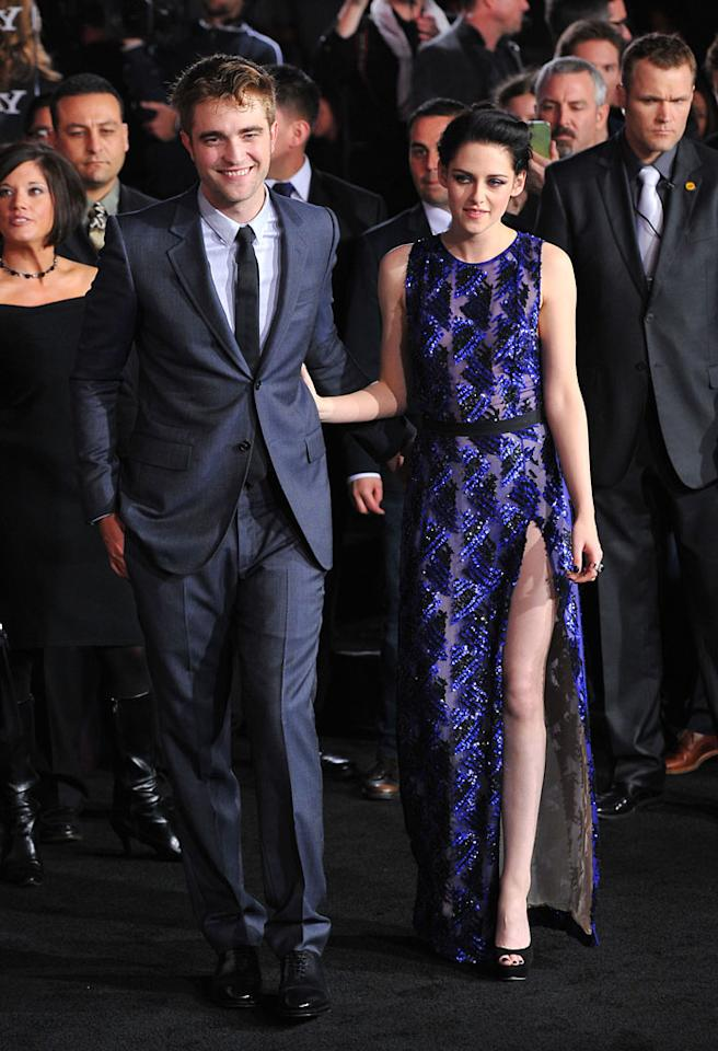 "Robert Pattinson and Kristen Stewart walk the red carpet at the premiere for ""The Twilight Saga: Breaking Dawn – Part 1"" in Los Angeles, CA. (Photo by Vince Bucci/Yahoo!)"