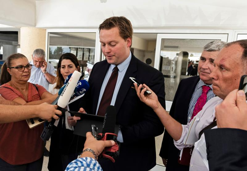 Michael Polak from the UK legal aid group Justice Abroad answers reporters' questions after a hearing on October 2, 2019 in the case of a British teenager (unseen), accused of fasely claiming that she was gang raped by Israeli tourists, at the Famagusta District Court in the coastal resort of Paralimni in eastern Cyprus. (Photo by Iakovos Hatzistavrou / AFP) (Photo by IAKOVOS HATZISTAVROU/AFP via Getty Images)