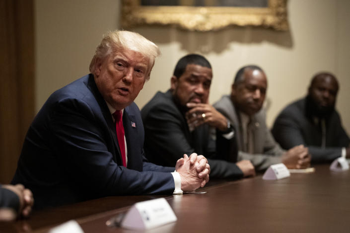 President Donald Trump speaks during a roundtable discussion with African-American supporters in the Cabinet Room of the White House, Wednesday, June 10, 2020, in Washington. (AP Photo/Patrick Semansky)