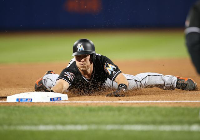 Marlins catcher J.T. Realmuto went 21 at-bats without a strikeout to start the season. (Getty Images)