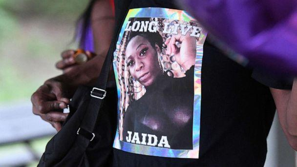PHOTO: An attendee to a memorial for Jaida Peterson wears a T-shirt with her photo on it, April 9, 2021, at Tuckaseegee Park in Charlotte, N.C. (David T. Foster III/The Charlotte Observer via AP)