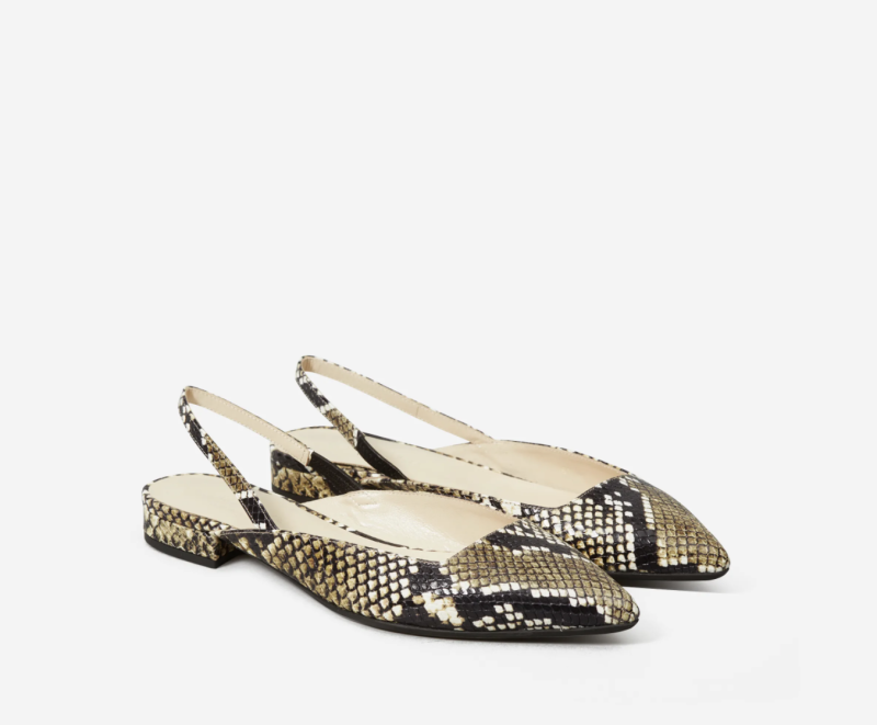 The Editor Slingback in Snake. Image via Everlane.