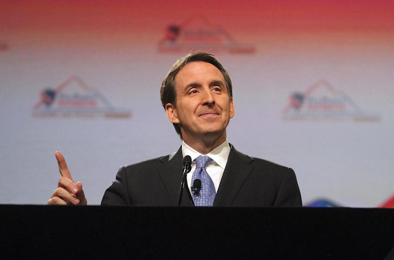 Former Minnesota Governor Tim Pawlenty addresses a crowd of 2500 people during the Tea Party Patriots American Policy Summit at the Phoenix Convention Center on Saturday,  Feb. 26, 2011, in Phoenix. (AP Photo/Darryl Webb)