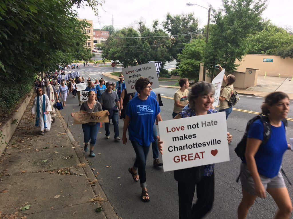 """Counter-protesters arriveat the """"Unite the Right"""" rally."""