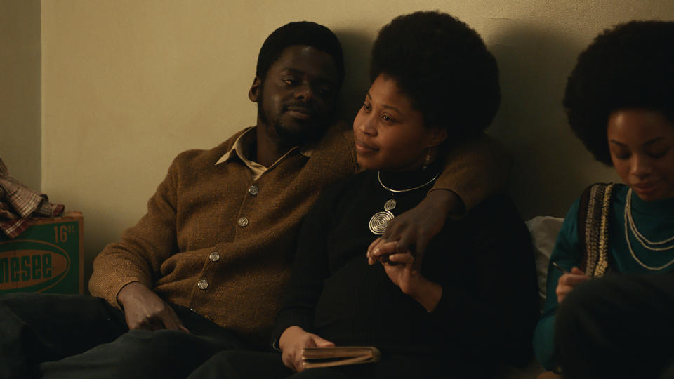 Daniel Kaluuya as Fred Hampton and Dominique Fishback as Deborah Johnson in 'Judas and the Black Messiah'. (Credit: Warner Bros)
