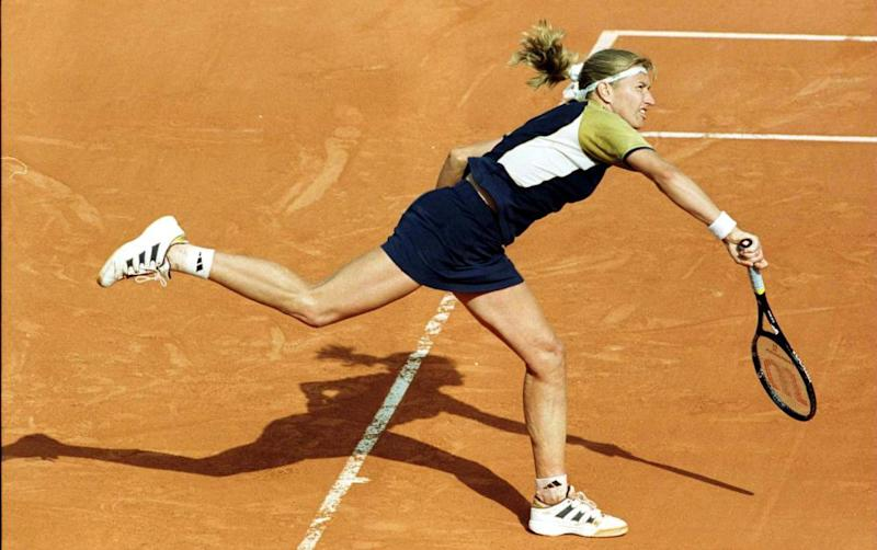 Steffi Graf in action at the French Open in 1999.