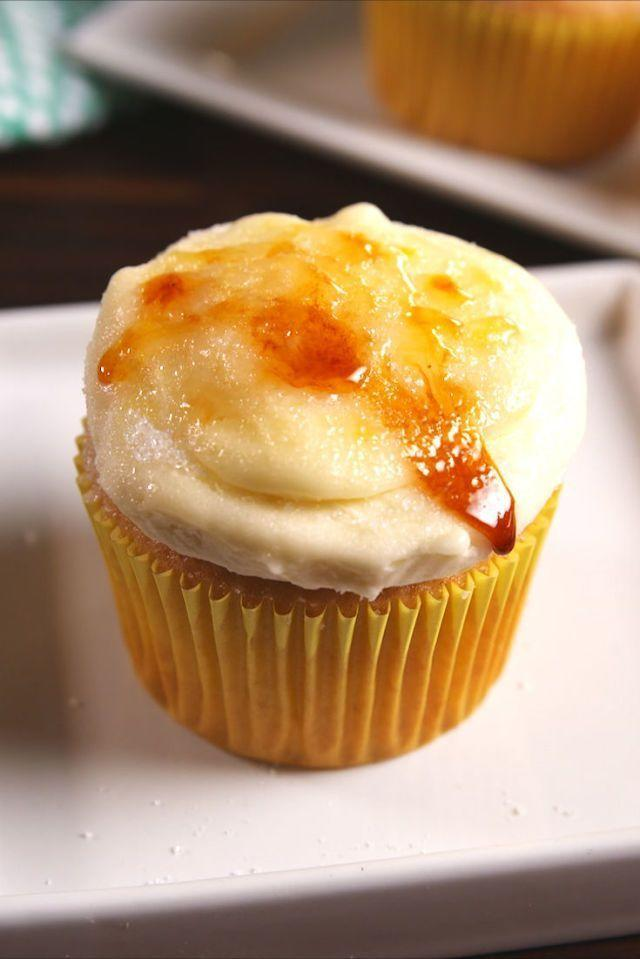 """<p>Cupcakes the French would approve of.</p><p>Get the <a href=""""https://www.delish.com/uk/cooking/recipes/a28784357/creme-brulee-cupcakes/"""" rel=""""nofollow noopener"""" target=""""_blank"""" data-ylk=""""slk:Crème Brûlée Cupcakes"""" class=""""link rapid-noclick-resp"""">Crème Brûlée Cupcakes</a> recipe.</p>"""