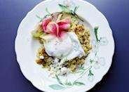 """This """"put an egg on it"""" dream dish is a must-order menu item at Sqirl. <a href=""""https://www.bonappetit.com/recipe/sorrel-rice-bowls-poached-eggs?mbid=synd_yahoo_rss"""" rel=""""nofollow noopener"""" target=""""_blank"""" data-ylk=""""slk:See recipe."""" class=""""link rapid-noclick-resp"""">See recipe.</a>"""