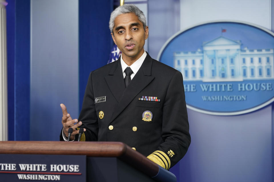 Surgeon-General Dr. Vivek Murthy speaks at the daily briefing at the White House on July 15, 2021.