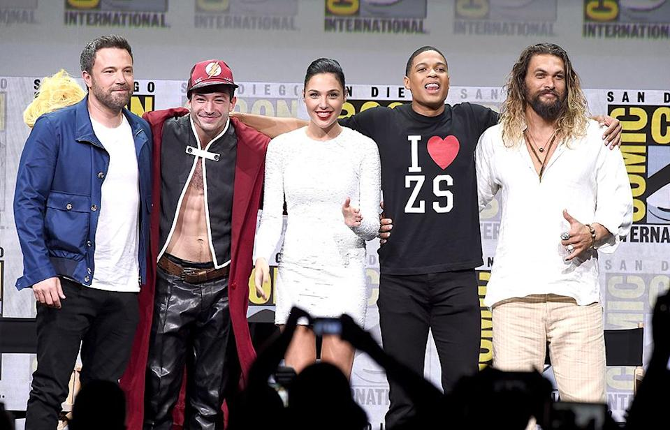 <p>Ben Affleck, Ezra Miller, Gal Gadot, Ray Fisher, and Jason Momoa at the Warner Bros. Pictures Presentation at Comic-Con on July 22, 2017 in San Diego. (Photo: Kevin Winter/Getty Images) </p>