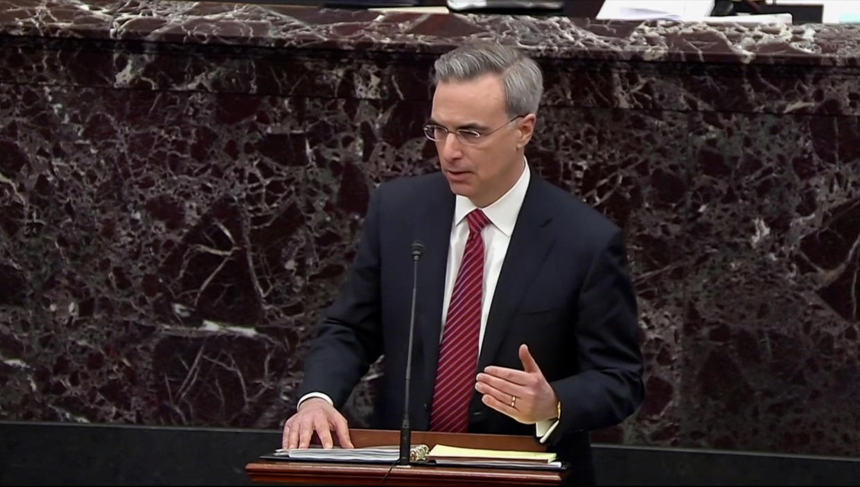 White House Counsel Pat Cipollone speaks during impeachment proceedings against U.S. President Donald Trump in the Senate at the U.S. Capitol on January 21, 2020 in Washington, DC. (Screengrab: via Yahoo News Video/ Sentate TV)