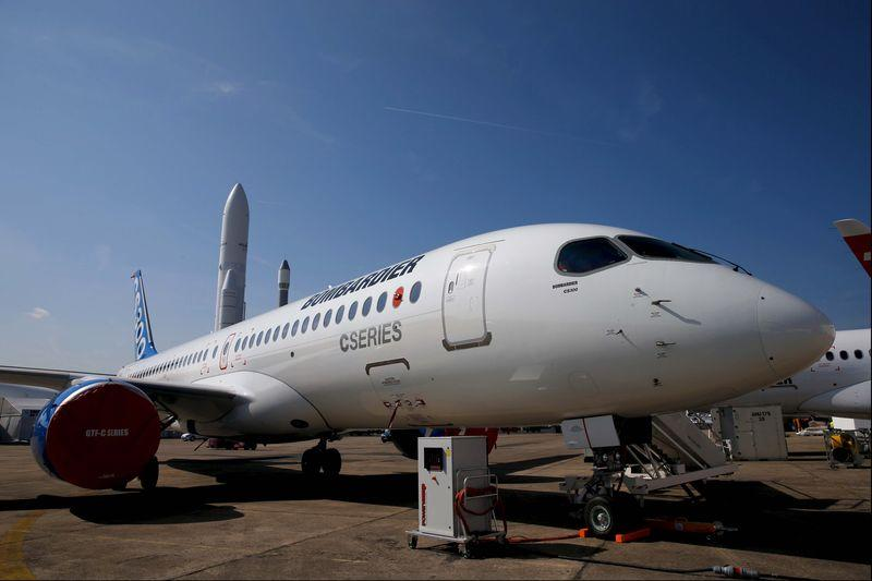 File photo of a Bombardier CS300 airplane before the opening of the 51st Paris Air Show at Le Bourget airport near Paris