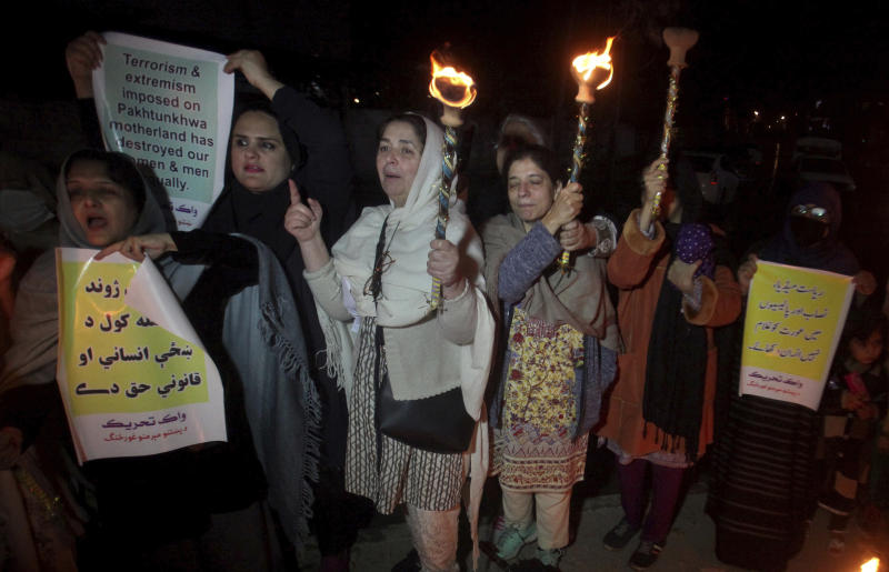 Members of a civil society take part in a pro-women demonstration ahead of Women's Day in Peshawar, Pakistan, Saturday, March 7, 2020. Pakistani women plan to hold rallies across the country to celebrate International Women's Day to bring attention to their efforts to seek better jobs, protections in the work place and end domestic violence. (AP Photo/Mohammad Sajjad)