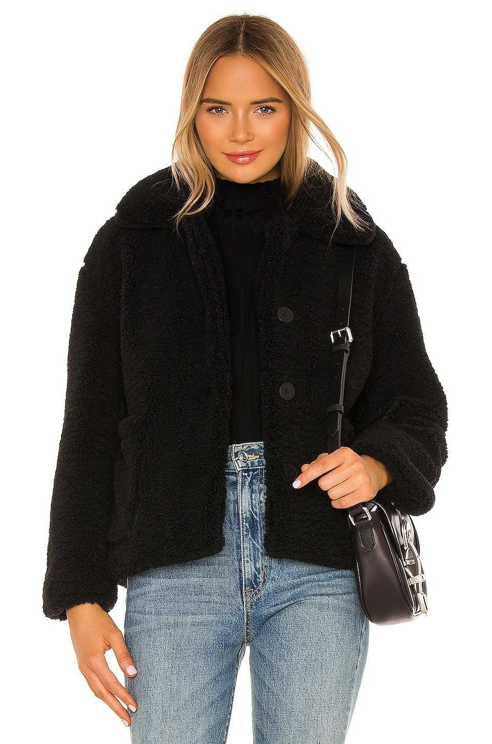 <p>Bundle up in this cute <span>Apparis Charlotte Faux Fur Jacket</span> ($260).</p>