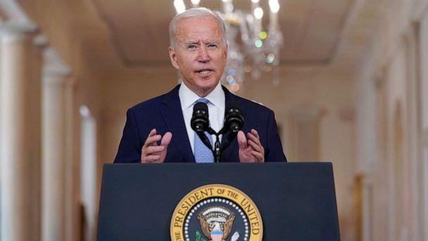 PHOTO: President Joe Biden speaks about the end of the war in Afghanistan from the State Dining Room of the White House, Aug. 31, 2021, in Washington. (Evan Vucci/AP)