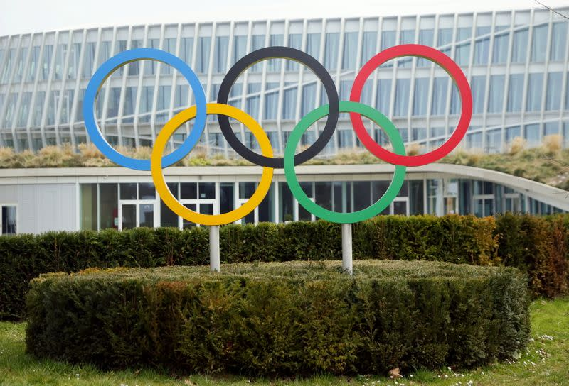 The Olympic rings are pictured in front of the IOC headquarters in Lausanne