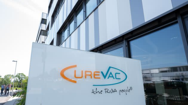 17 June 2021, Baden-Wuerttemberg, Tübingen: A sign with the logo of the biopharmaceutical company Curevac stands in front of the company's headquarters in Tübingen. According to an interim analysis, the efficacy of Curevac's vaccine candidate CVnCoV is significantly lower than that of other already approved Corona vaccines.       (to dpa