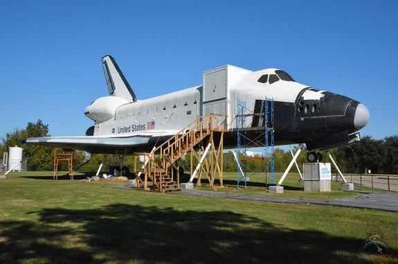 """The mockup space shuttle """"Independence"""" as seen at Space Center Houston after repairs were made to remove and cover up the graffiti left by vandals on Wednesday, Nov. 27, 2013."""