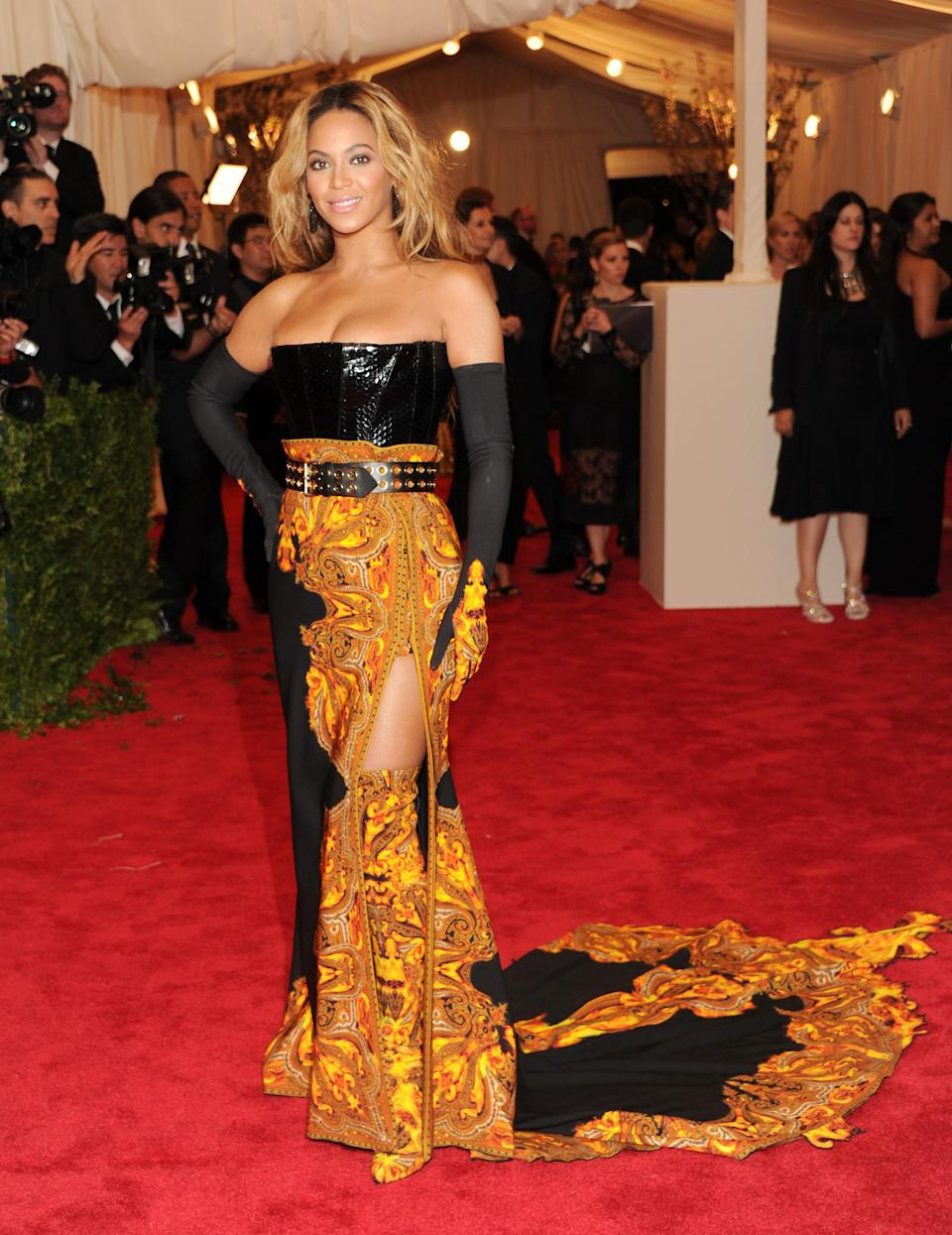 """Beyonce Knowles attends The Metropolitan Museum of Art's Costume Institute benefit celebrating """"PUNK: Chaos to Couture"""" on Monday, May 6, 2013, in New York. (Photo by Evan Agostini/Invision/AP)"""