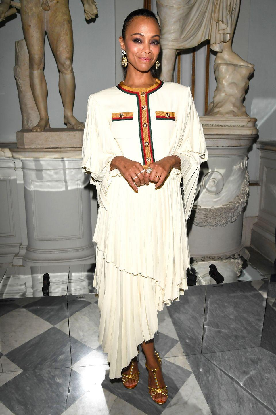 """<p>Who: Zoe Saldana</p><p>When: May 28, 2019</p><p>Wearing: Gucci</p><p>Why: Zoe Saldana's outfit at the Gucci Cruise show in Rome, Italy is giving us major """"strict-but-loving professional mom in an '80s sitcom"""" vibes. Excuse us while we re-introduce shoulder pads into our wardrobe. </p>"""