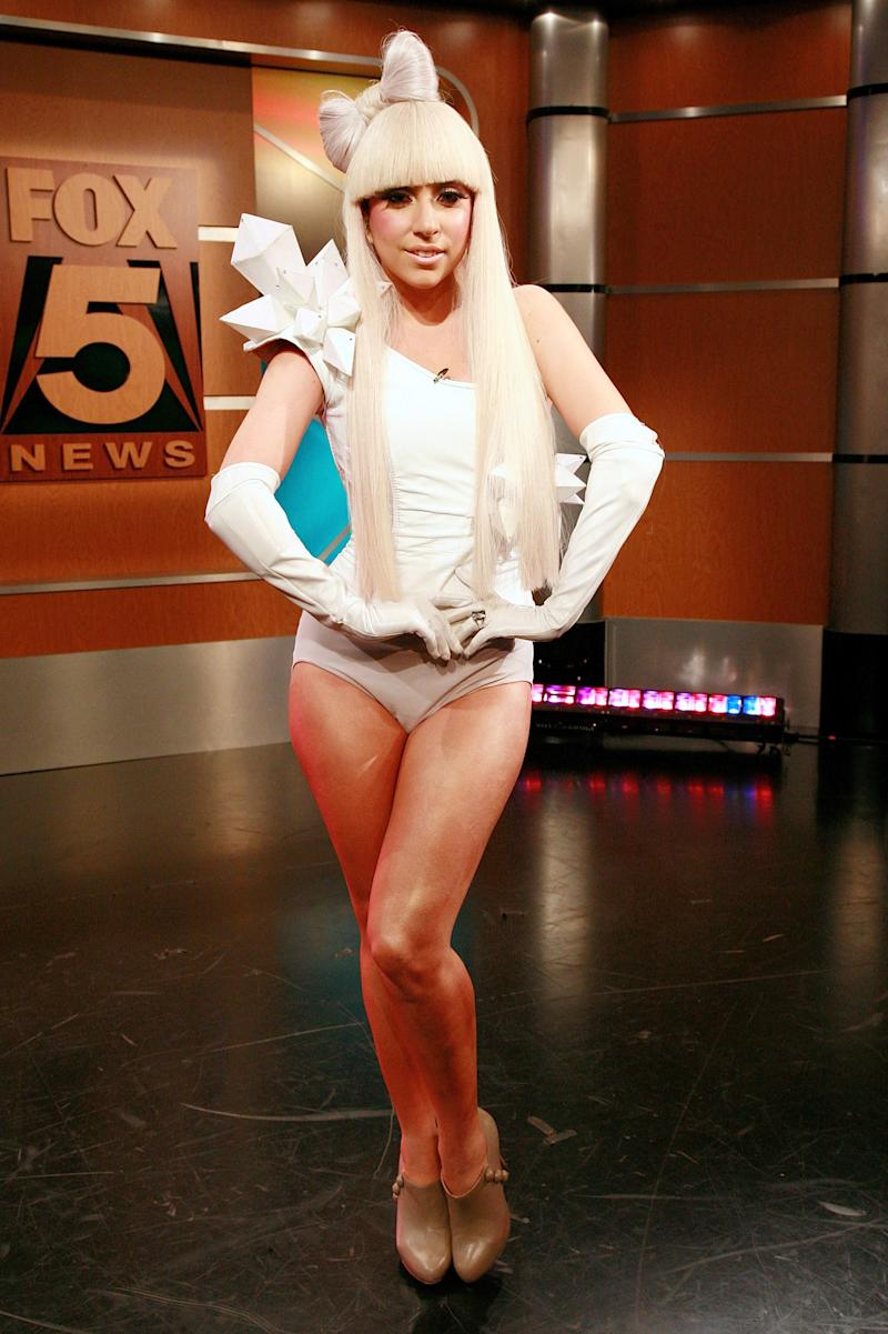 """Lady Gaga and her """"hair bow"""" debut on Good Day New York in 2008. Most of her costumes at this time where largely handmade."""