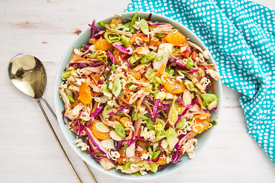 """<p>This salad is a celebration of color and crunch. </p><p>Get the recipe from <a href=""""https://www.delish.com/uk/cooking/recipes/a31109543/chinese-chicken-salad-recipe/"""" rel=""""nofollow noopener"""" target=""""_blank"""" data-ylk=""""slk:Delish"""" class=""""link rapid-noclick-resp"""">Delish</a>.</p>"""