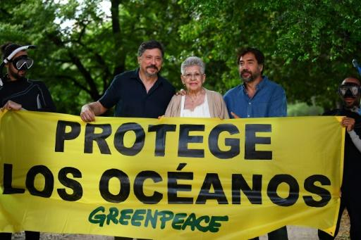 """Spanish actress Pilar Bardem (C) and her sons Carlos (L) and Javier Bardem (R) stand behind a banner reading """"Protect the Ocean"""" at a June 2019 Greenpeace event in Madrid to support a Global Ocean Treaty"""