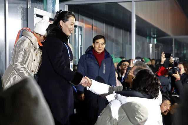 Kim Yo Jong, left, sister of North Korean leader Kim Jong Un, shakes hands with South Korean President Moon Jae-in at the Olympic Opening Ceremony in Pyeongchang, South Korea on Friday. (AP)
