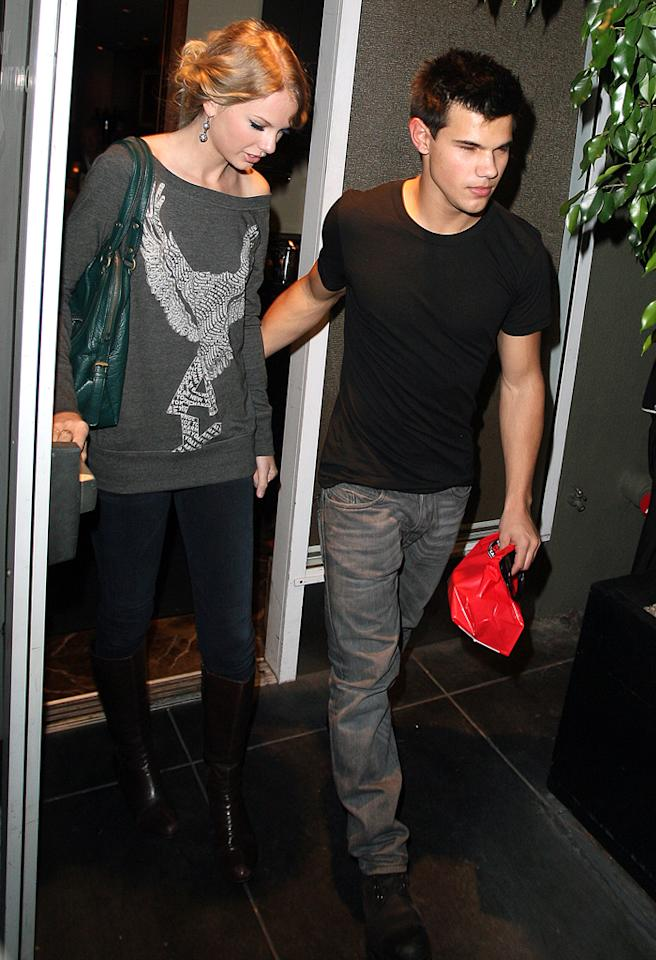 Young Hollywood couple Taylor Swift and Taylor Lautner leaving the Chris Steakhouse restaurant in Beverly Hills, CA with take out food bag. Pictured: Taylor Swift and Taylor Lautner  Ref: SPL135208  291009  Picture by: Splash News   Splash News and Pictures Los Angeles:310-821-2666 New York:212-619-2666 London:870-934-2666 photodesk@splashnews.com