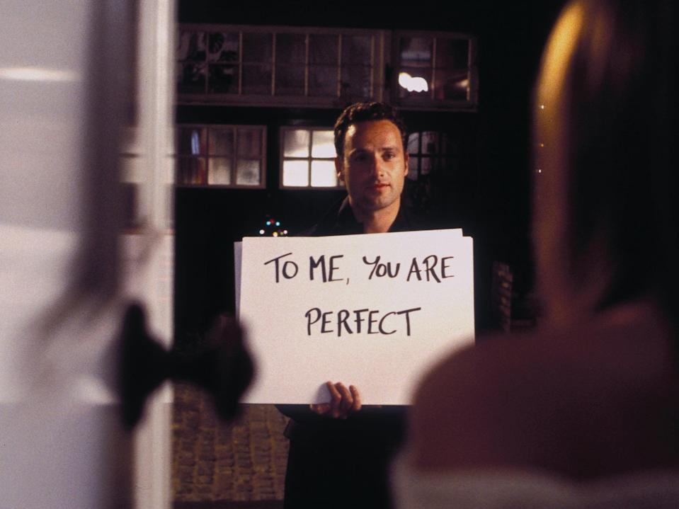 The infamous 'cue card' scene in Love Actually (Universal Studios)
