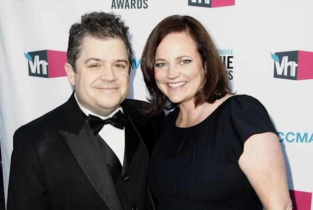 Patton Oswalt and Michelle McNamara at the 17th Annual Critics' Choice Movie Awards in 2012. (AP Photo/Matt Sayles, File)