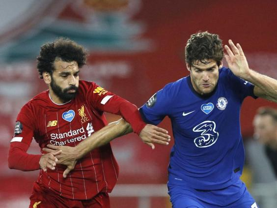 Salah and Alonso battle for the ball (2020 Pool)