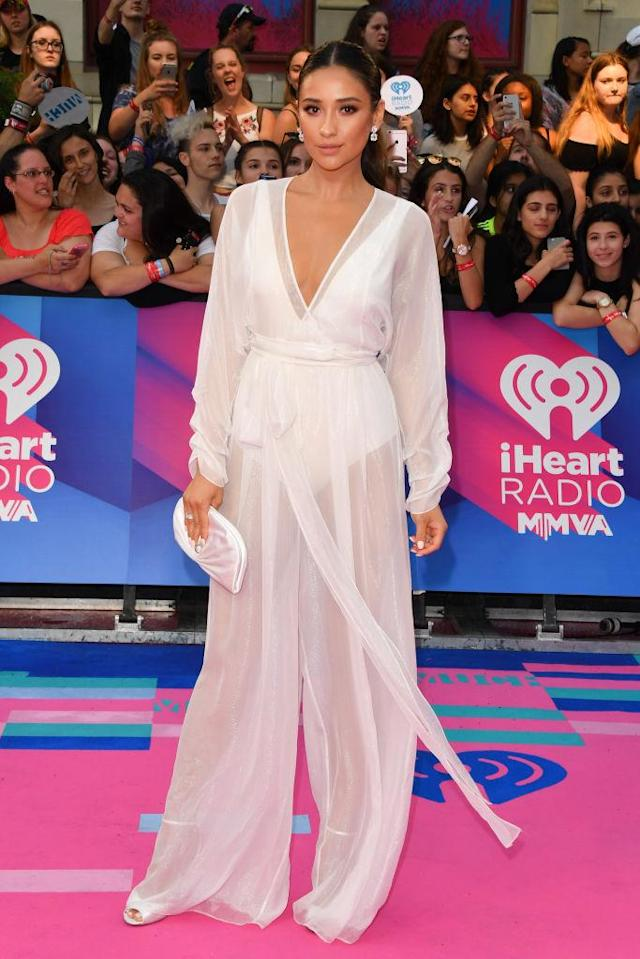 Mitchell wore a see-through jumpsuit to the 2017 iHeartRadio Much Music Video Awards. (Photo: Getty Images)
